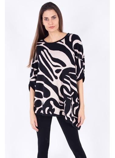 Peraluna Peraluna Siyah & Pudra Renk Jakarlı Asimetrik Bol Kadın Triko Tunik Renkli